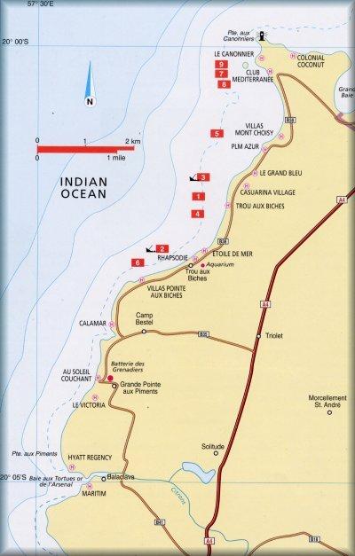 Mauritius ÉNy-i partjának merülőhelyei