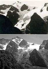 Ruwenzori-hegység gleccsercsoportja (1952 és 2008)